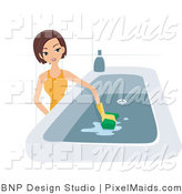 Vector Clipart of a Maid Cleaning a Bath Tub by BNP Design Studio