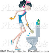 Vector Clipart of a Maid Cleaning a Toilet by BNP Design Studio