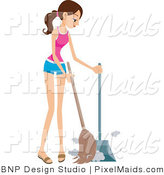 Vector Clipart of a Maid Sweeping by BNP Design Studio