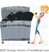 Vector Clipart of a Maid Taking out the Trash by BNP Design Studio