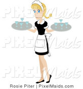 Vector Clipart of a Pretty Caucasian Maid Carrying Beverages on Trays by Rosie Piter