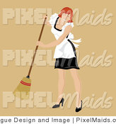 Vector Clipart of a Red Haired Sweeping Maid by Pams Clipart