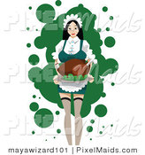 Vector Clipart of a Sexy Maid Carrying a Roasted Turkey by Mayawizard101
