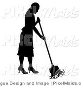 Vector Clipart of a Silhouetted Maid Mopping by Pams Clipart