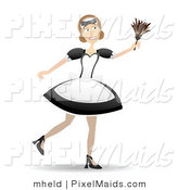 Vector Clipart of a Smiling Maid in Her Uniform Using a Feather Duster by Mheld