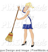 Vector Clipart of a Sweeping Blond Maid by Pams Clipart