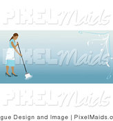 Vector Clipart of a Website Header with a Mopping Maid by Pams Clipart