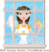 Vector Clipart of a Woman Washing Windows by BNP Design Studio