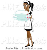 Vector Clipart of an Indian Maid Carrying Pillows by Rosie Piter