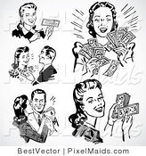 Vector Clipart of Prosperous Retro People by BestVector