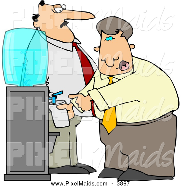 Clipart of a Annoyed Boss Keeping a Close Eye on an Employee Filling His Cup with Water