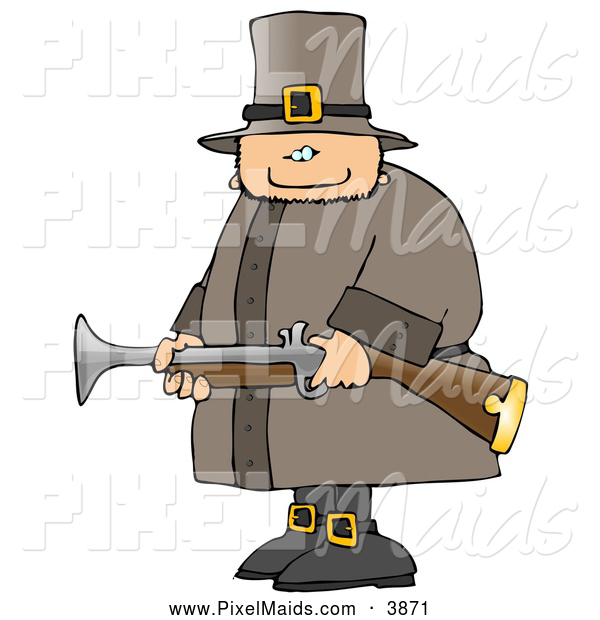 Clipart of a Armed Thanksgiving Pilgrim Man Hunting Birds