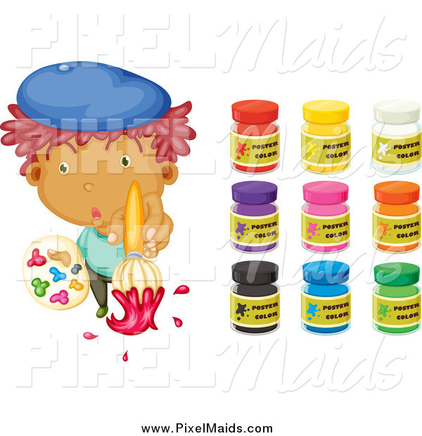 Clipart of a Artist Boy and Paints