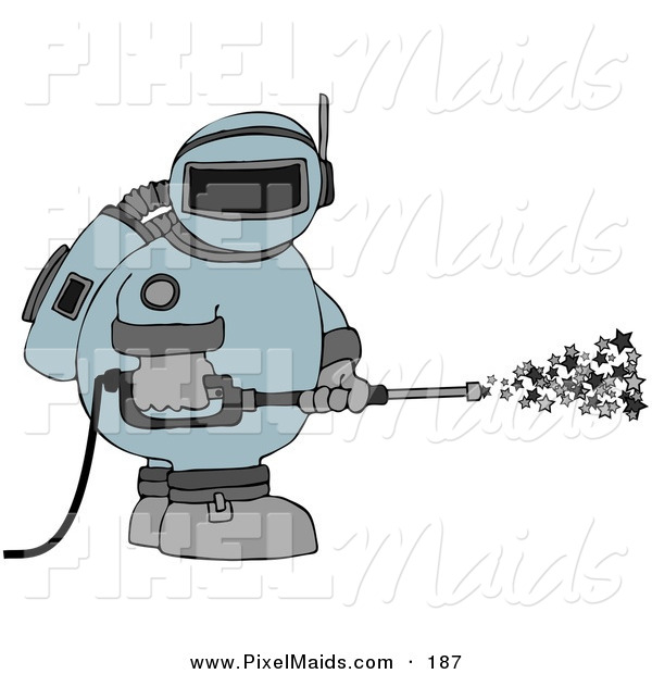Clipart of a Astronaut in a Space Suit, Operating a Power Washer and Spraying out Stars on White