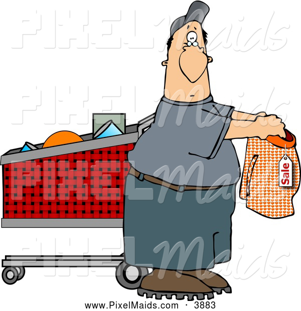 Clipart of a Average Man Shopping for Underwears