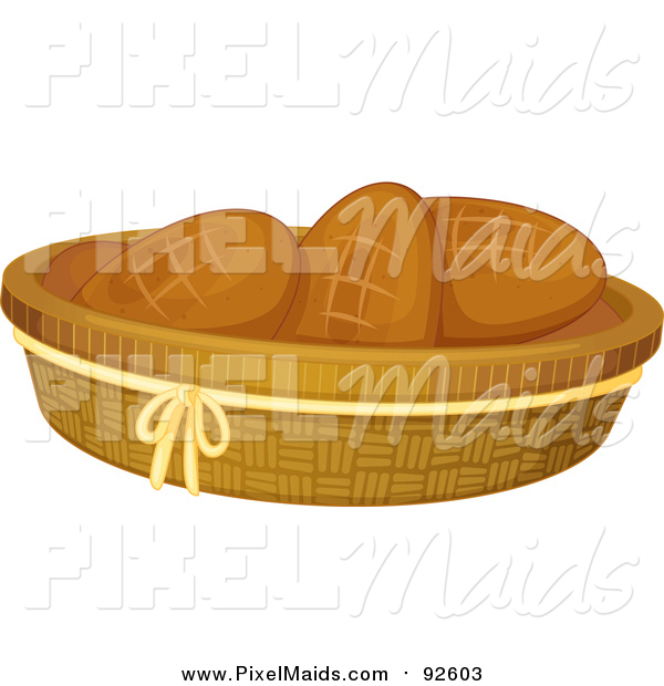 Clipart of a Basket of Bread Rolls