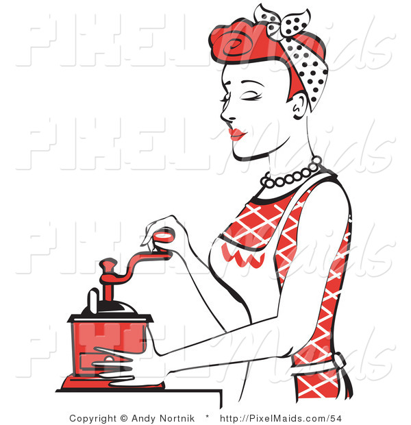 Clipart of a Beautiful Housewife with Red Hair or Maid Woman Using a Manual Coffee Grinder