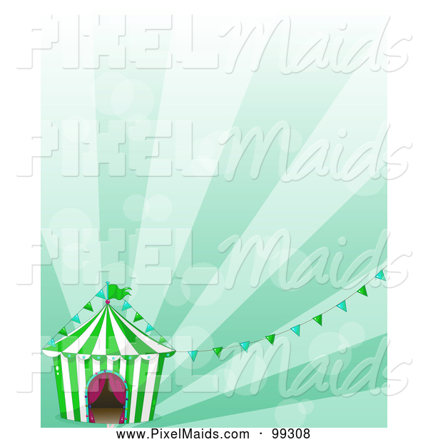Clipart of a Big Top Tent Circus and Banners over Green Rays