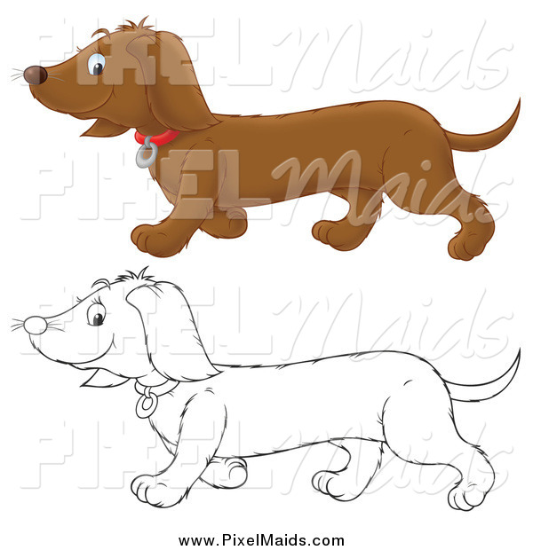 Clipart of a Black and White and Colored Happy Doxie Dog Walking