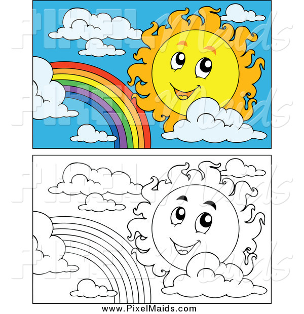 Clipart of a Black and White and Colored Suns and Rainbows