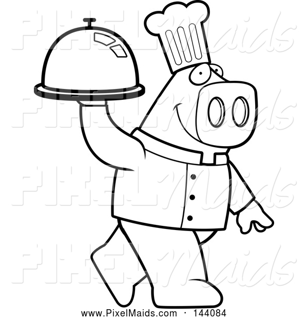 Clipart of a Black and White Chef Pig Carrying a Platter