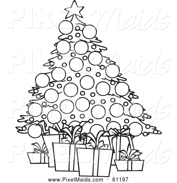 Clipart of a Black and White Christmas Tree and Gifts