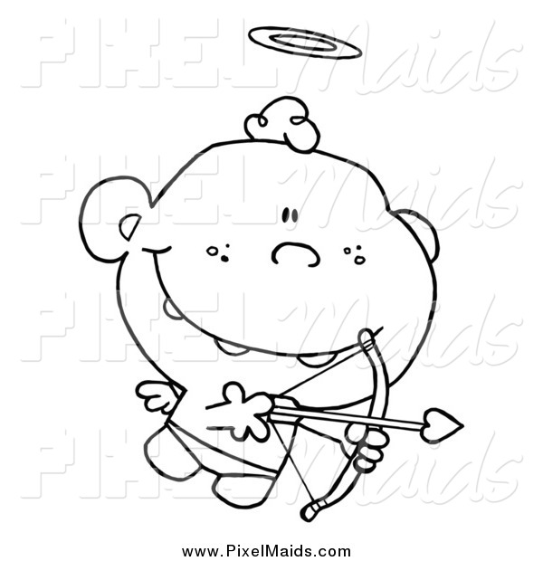 Clipart of a Black and White Cupid with Halo