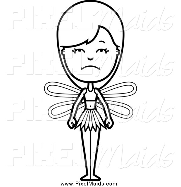 Clipart of a Black and White Depressed Female Fairy
