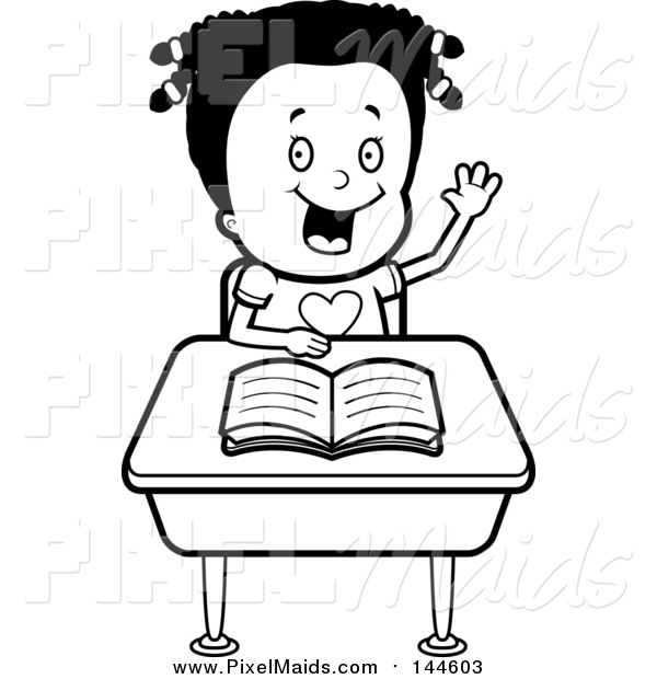 Clipart of a Black and White Girl Raising Her Hand at Her Desk