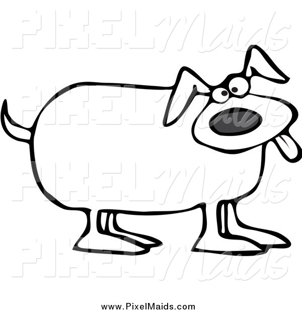 Clipart of a Black and White Happy Dog Panting