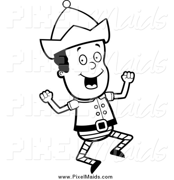 Clipart of a Black and White Happy Elf Cheering and Jumping