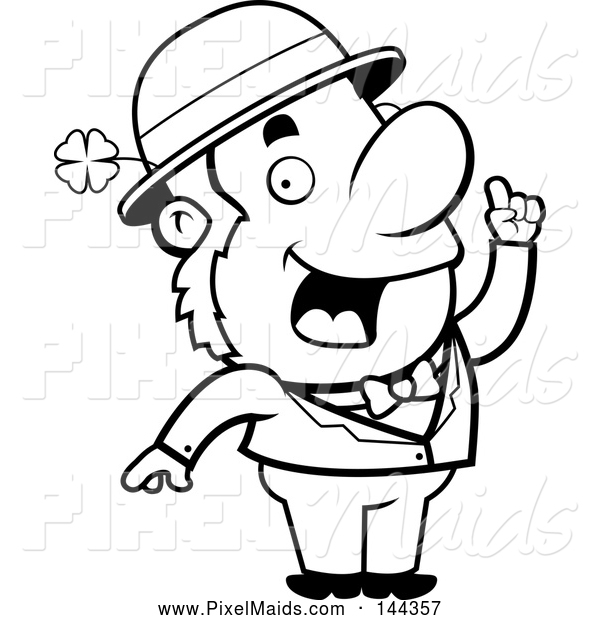 Clipart of a Black and White Leprechaun with an Idea