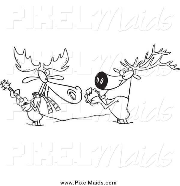 Clipart of a Black and White Moose and Elk Jamming in the Snow