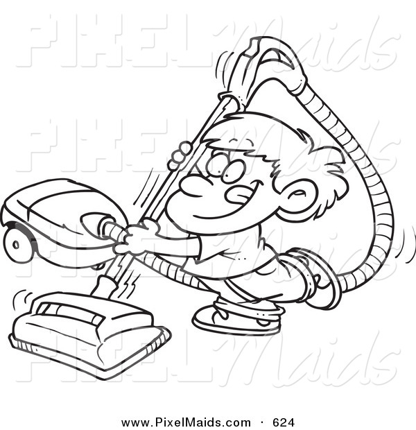 Clipart of a Black and White Outline Art Design of a Happy Boy Using a Vacuum