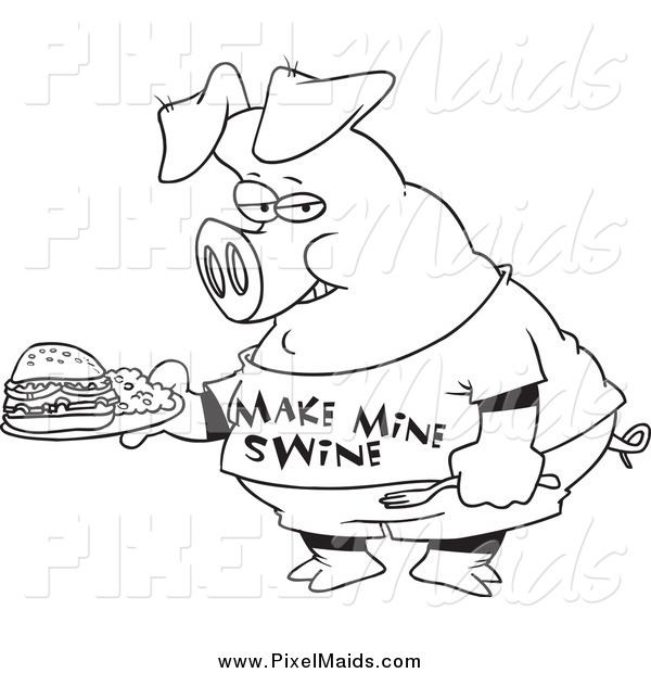 Clipart of a Black and White Pig Carrying a Sandwich