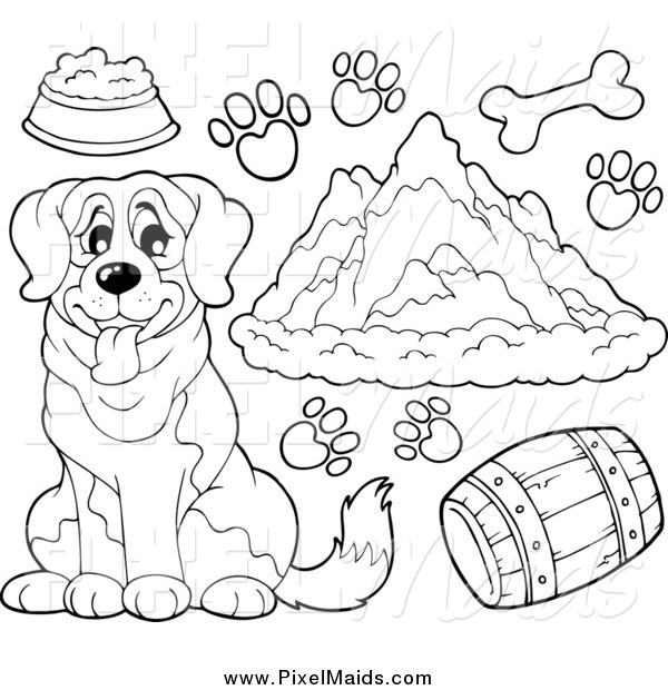 Clipart of a Black and White St Bernard Dog, Supplies Prints and Mountains