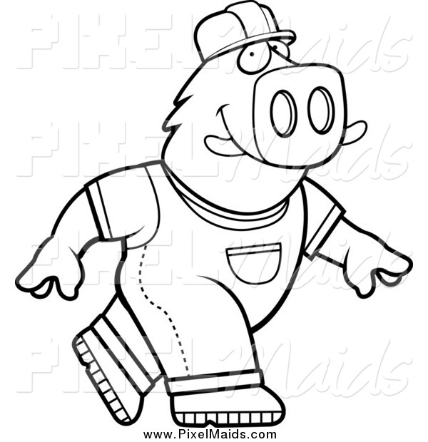 Clipart of a Black and White Walking Builder Boar