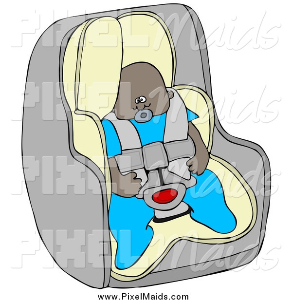 Clipart of a Black Baby Boy in a Car Seat