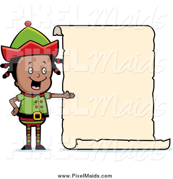 Clipart of a Black Girl Elf Presenting a Blank List Sign