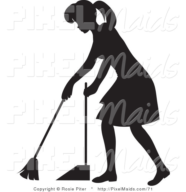 Clipart of a Black Silhouetted Housekeeper Woman Sweeping a Floor