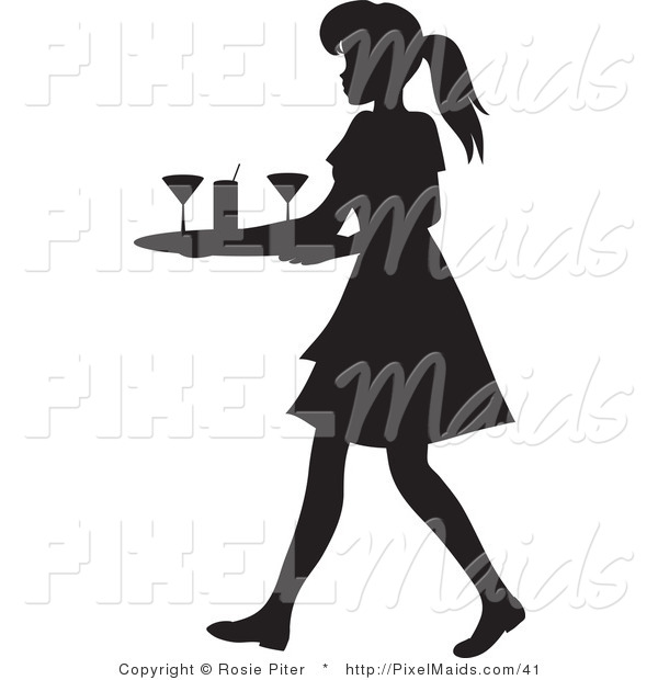 Clipart of a Black Silhouetted Maid or Waitress Woman Carrying a Tray of Cocktail Glasses