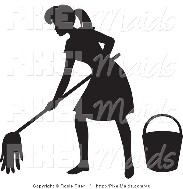 Clipart of a Black Silhouetted Maid Woman with a Mop and Bucket, Mopping a Floor