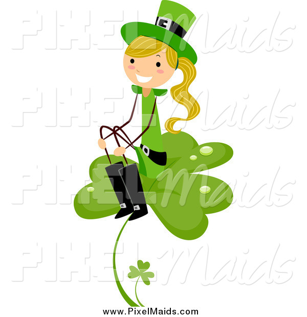 Clipart of a Blond White St Patricks Day Stick Girl Sitting on a Clover