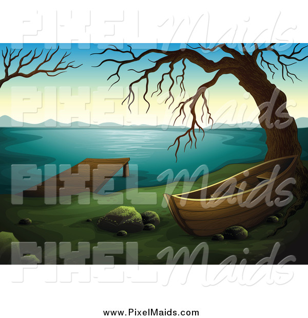 Clipart of a Boat Dock and Bare Tree on a Lake