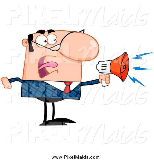 Clipart of a Bossy Caucasian Businessman Shouting Through a Megaphone
