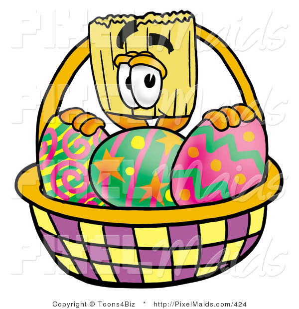 Clipart of a Broom Mascot Cartoon Character Behind an Easter Basket Full of Decorated Easter Eggs