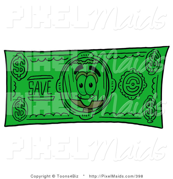 Clipart of a Broom Mascot Cartoon Character on an American Dollar Bill