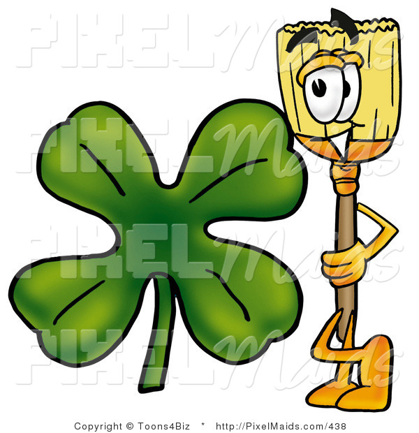 Clipart of a Broom Mascot Cartoon Character with a Green Four Leaf Shamrock on St Paddy's or St Patricks Day