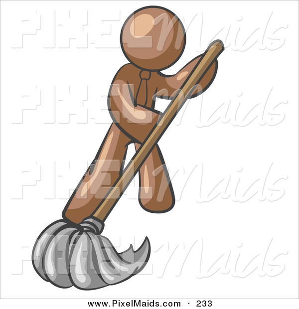 Clipart of a Brown Businessman Wearing a Tie, Using a Mop While Mopping a Hard Floor to Clean up a Mess or Spill