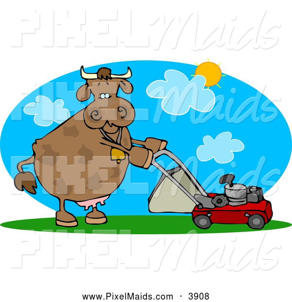 Clipart of a Brown Cow Mowing Lawn on a Hot Summer Day
